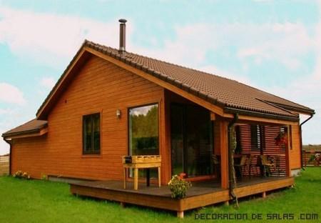 chalets con porche de madera