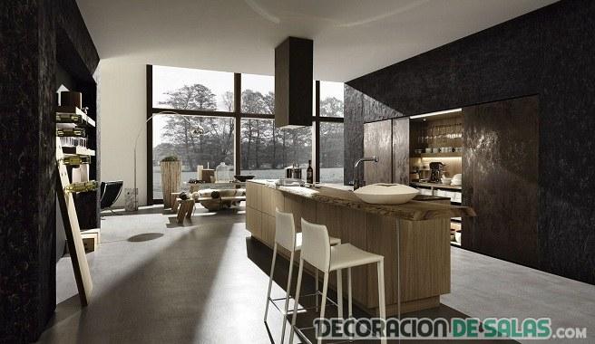 cocina amplia en color oscuro