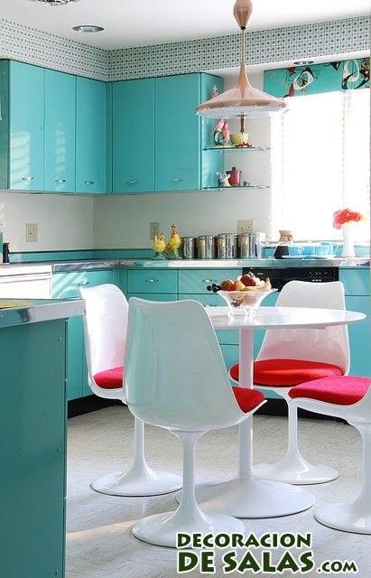 cocina con muebles color turquesa