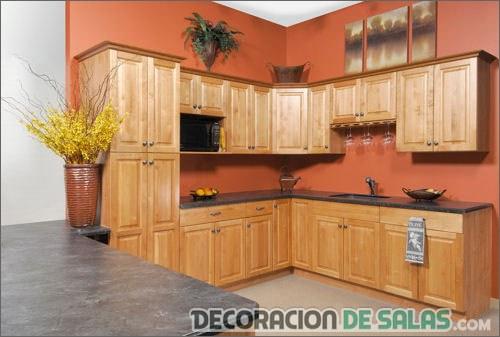 cocina con paredes en color naranja