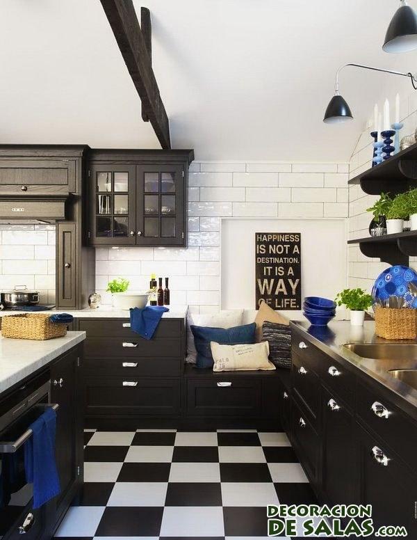 cocina con suelo combinado en blanco y negro