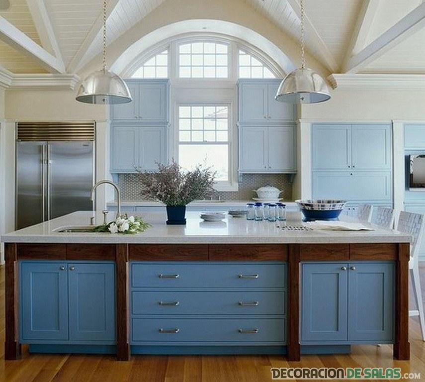 cocina de madera pintada