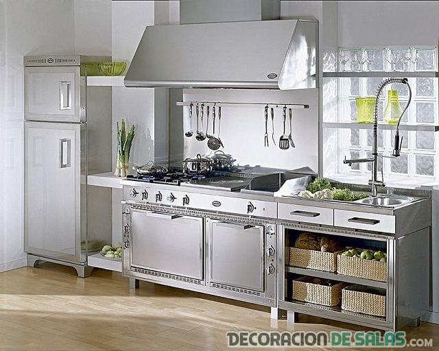 cocina en acero clásica