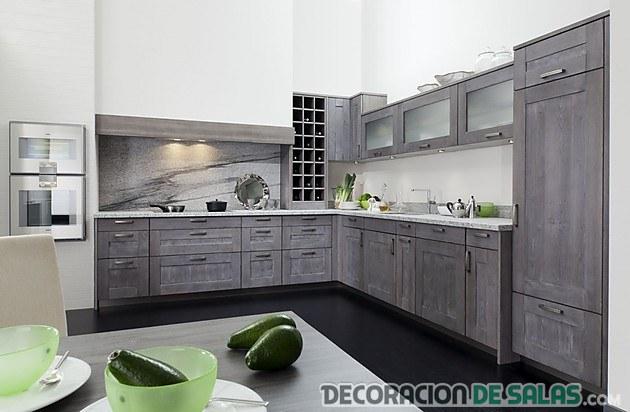 cocina en color gris moderna