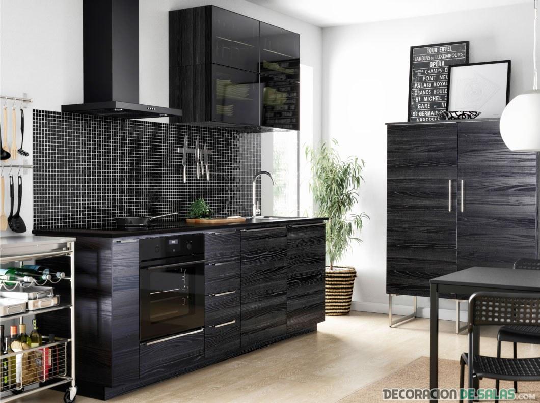 cocina en color negro de ikea