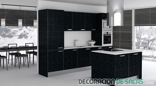cocina en color negro moderna