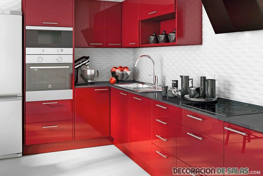 cocina en rojo de leroy merlin