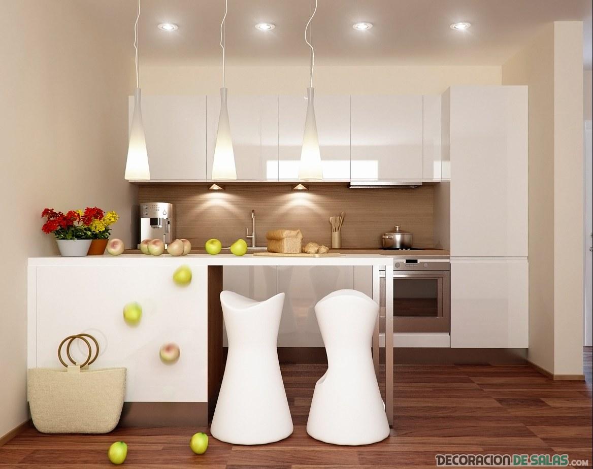cocina en un rincón en color blanco