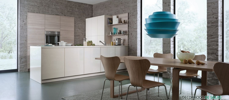 cocina moderna en color marrón