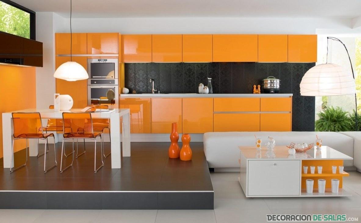 cocina naranja moderna minimalista