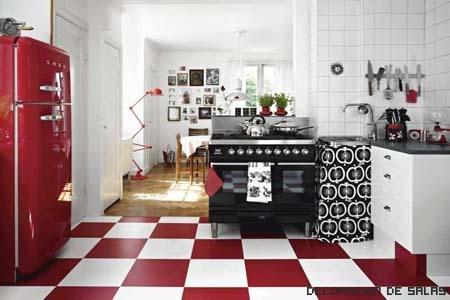 cocina nordica toques rojos