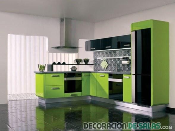 cocina pequeña en color verde