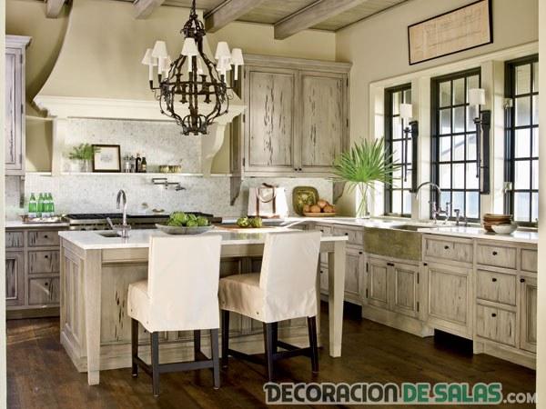 cocina rústica en color blanco