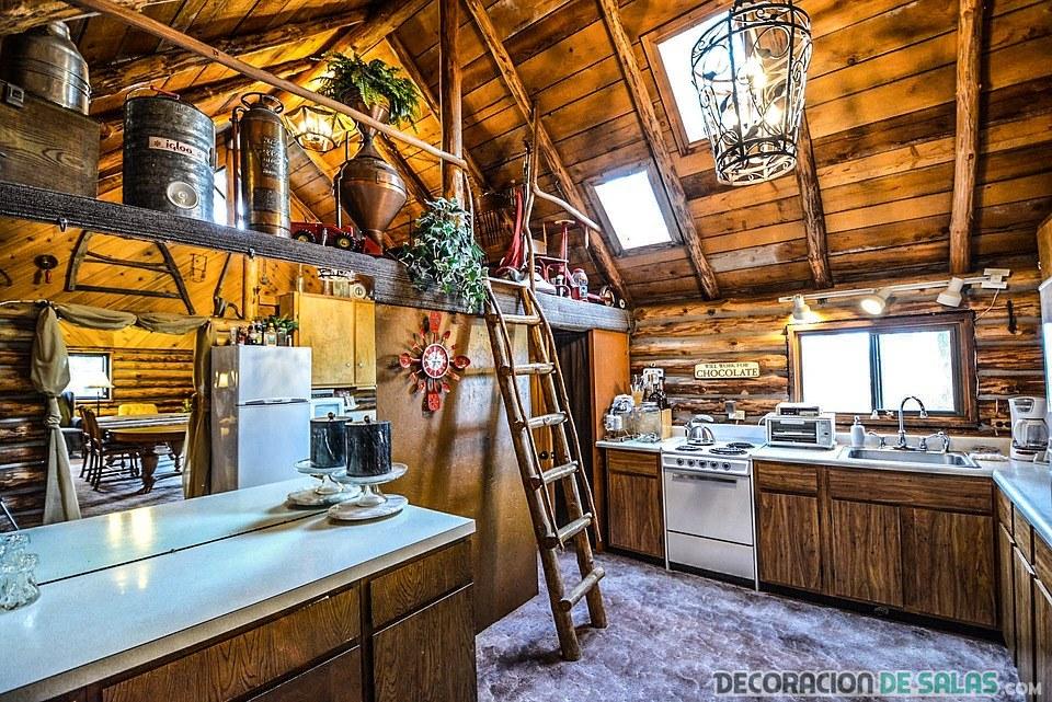 cocina rústica moderna y con muebles oscuros