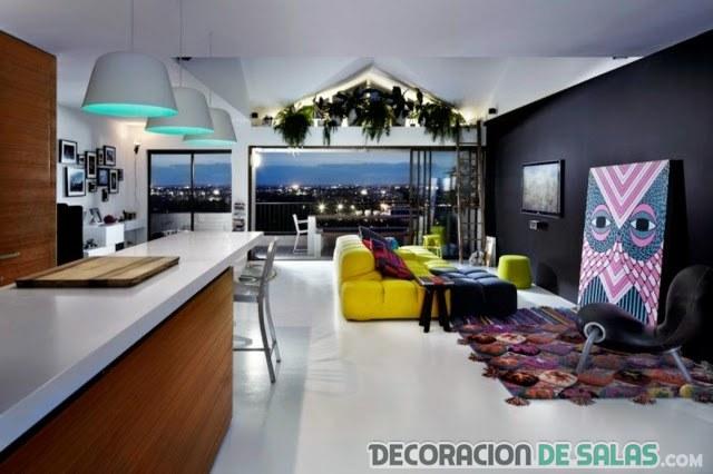 cocina, sala y terraza