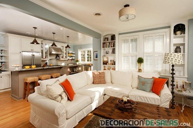 cocina salón con sofá en blanco