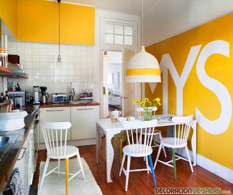 cocina y comedor en color llamativo