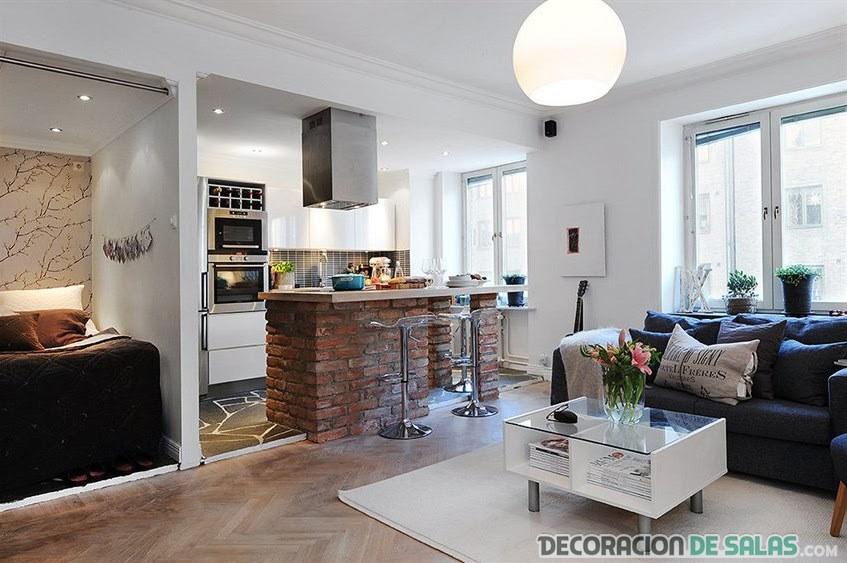 cocina y salón abiertos