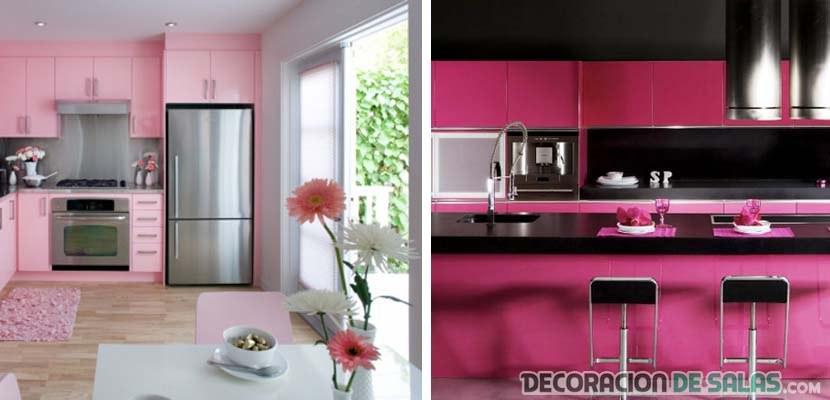 cocinas en rosa y negro