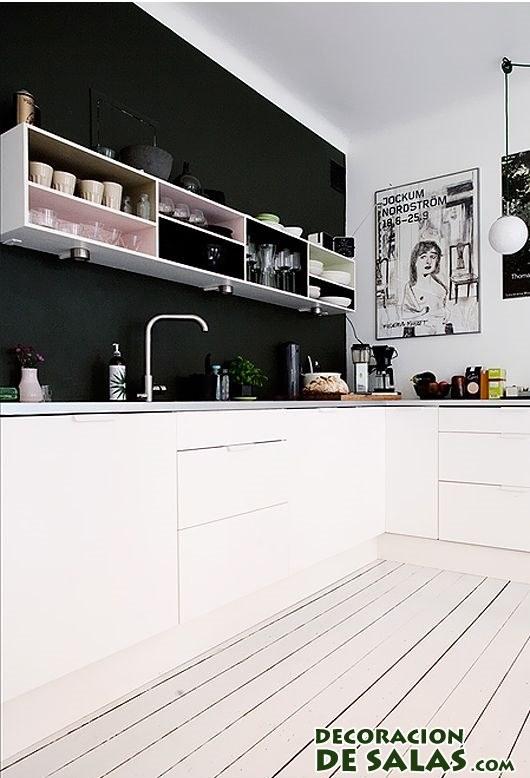 cocinas modernas con suelos en blanco
