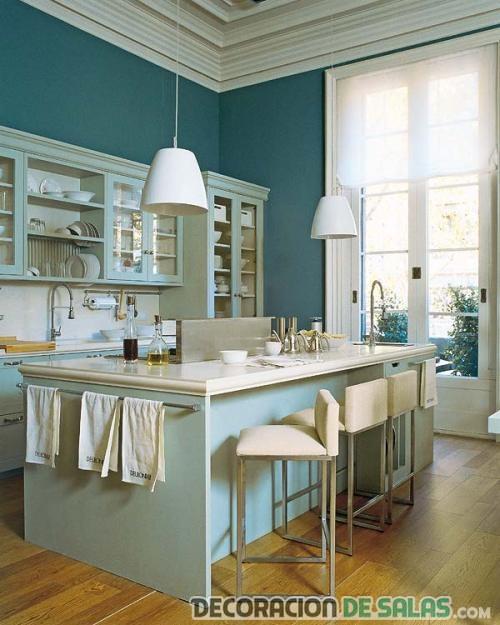 cocinas modernas en colores pastel