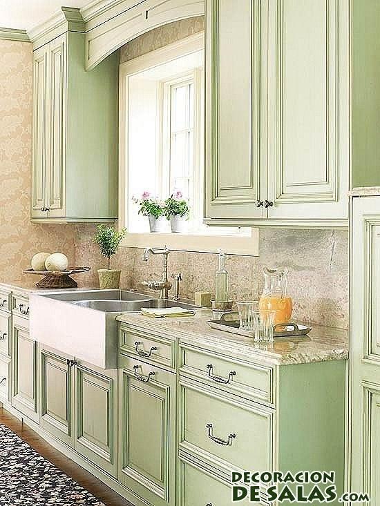 cocinas y alacenas en verde