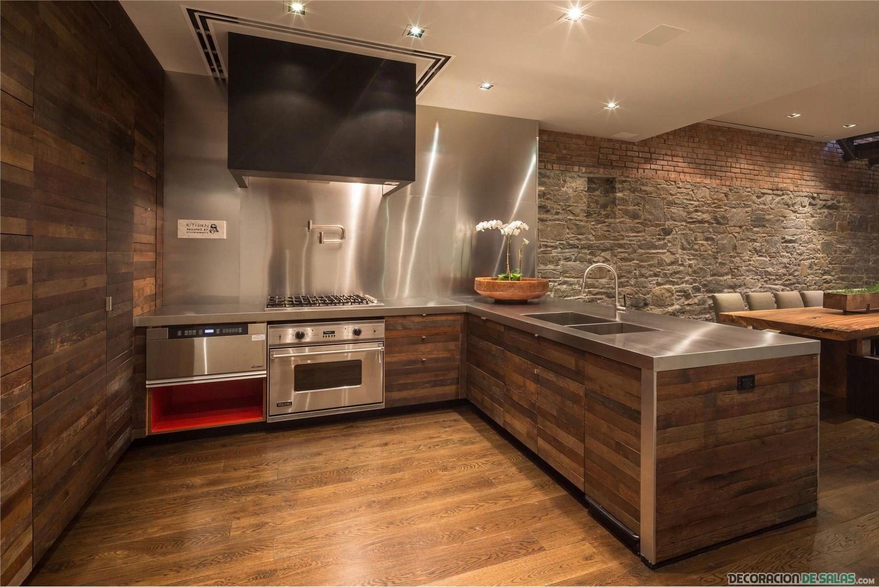 combinación de paredes en la cocina