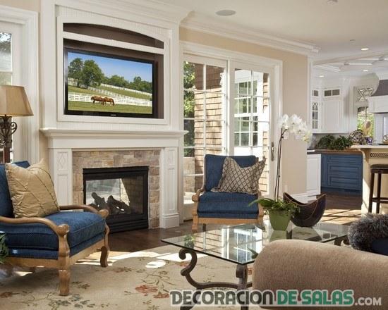 combinación de sofás azules en salones