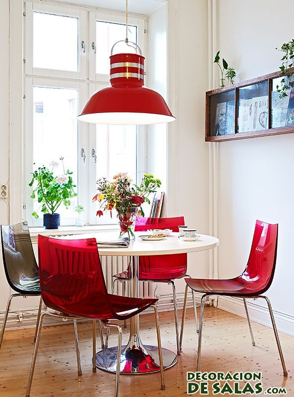 comedor blanco y rojo moderno