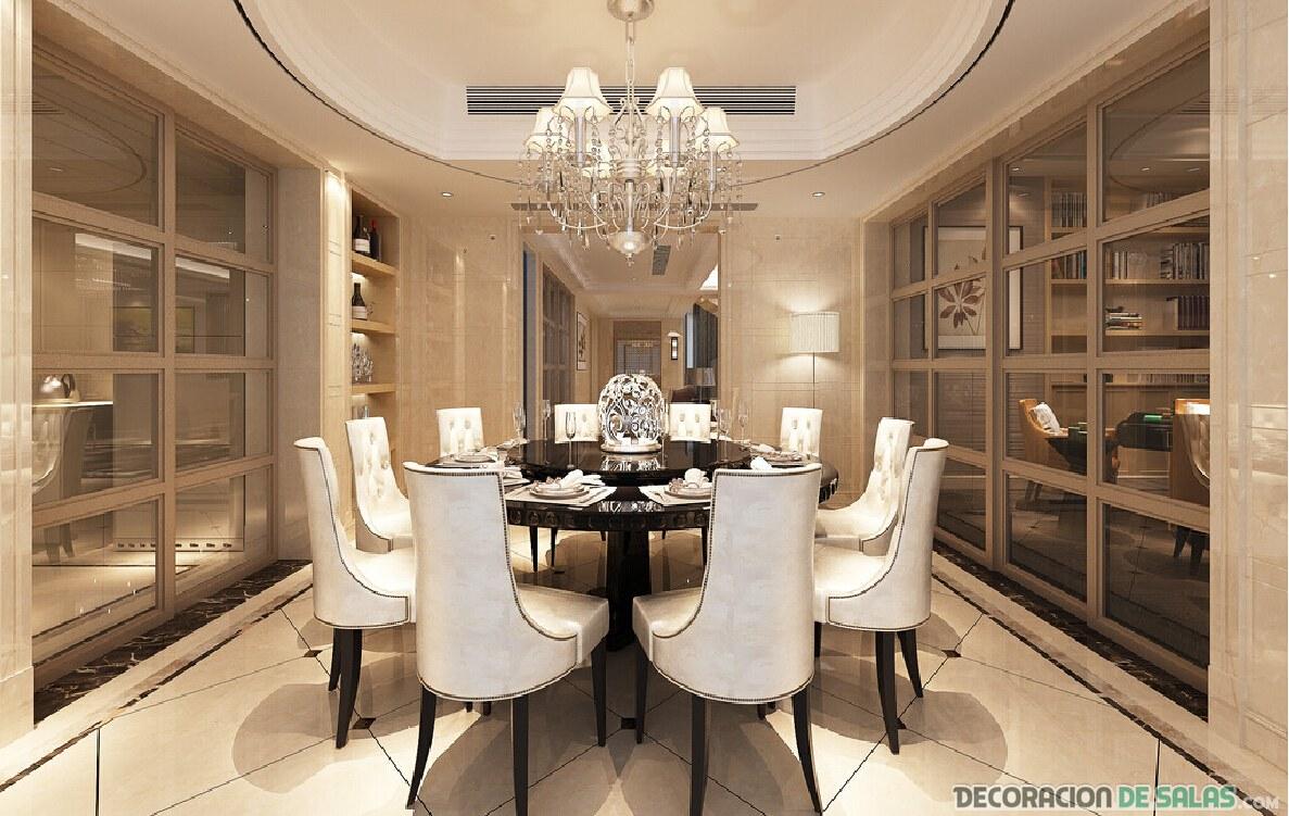 comedor con mesa redonda y elegante