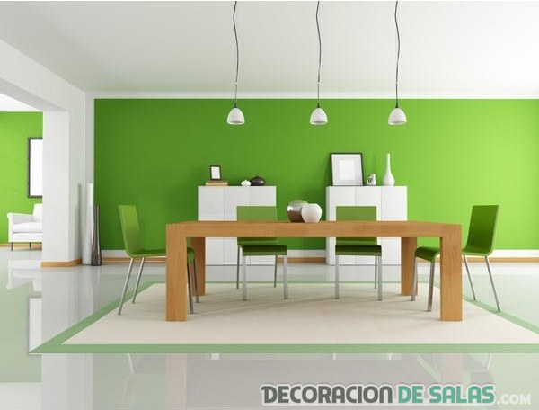 comedor decorado en color verde