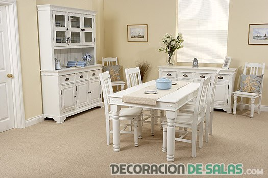 Ideas de comedores en color blanco | DECORACIÓN DE SALAS