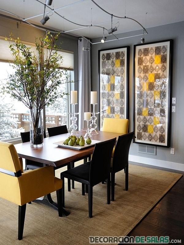 comedor moderno en marrón y amarillo