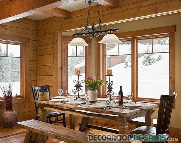 comedor pared madera