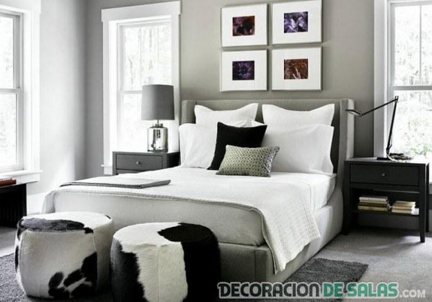 composición de cuadros en dormitorio