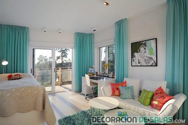 cortinas azules en salones