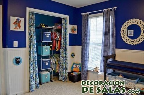 cortinas azules para tapar muebles