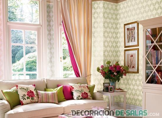 cortinas combinadas en beige y rosa