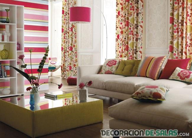 cortinas combinadas en estampado rosa