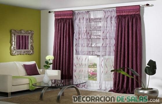 cortinas en color malva para salón