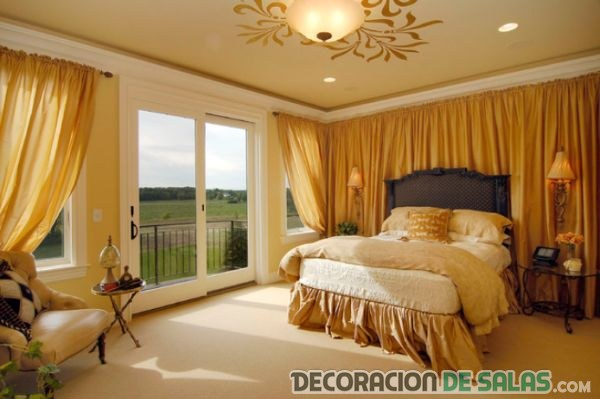 cortinas en dorado para dormitorios