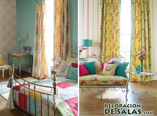 cortinas flores color