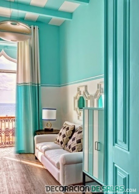 cortinas salón aguamarina