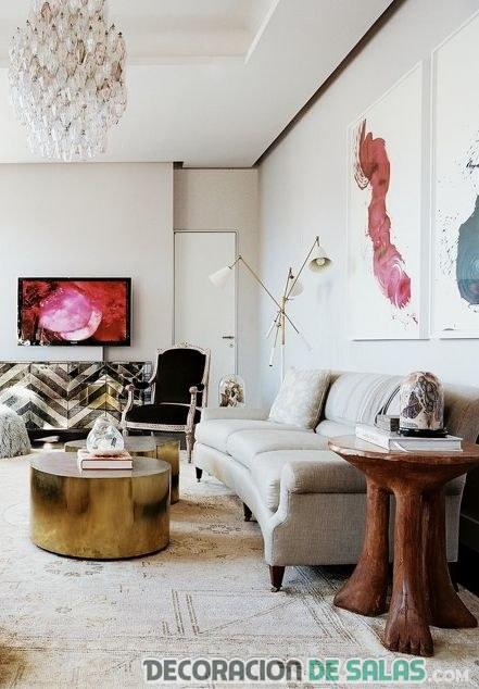 cuadros rosa para decoración de salón