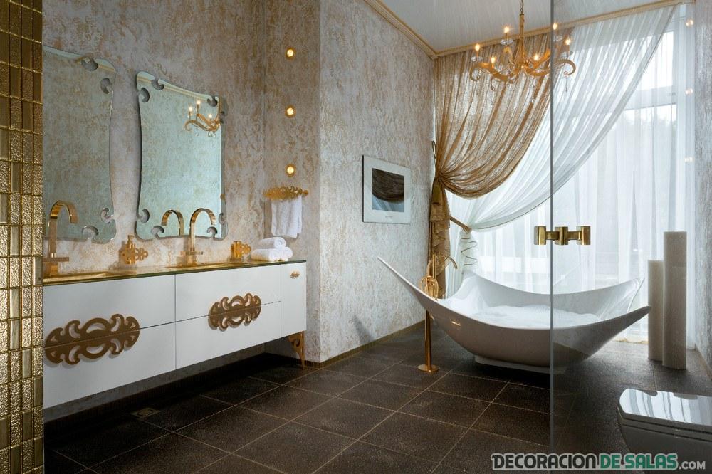 decoración baño en dorado