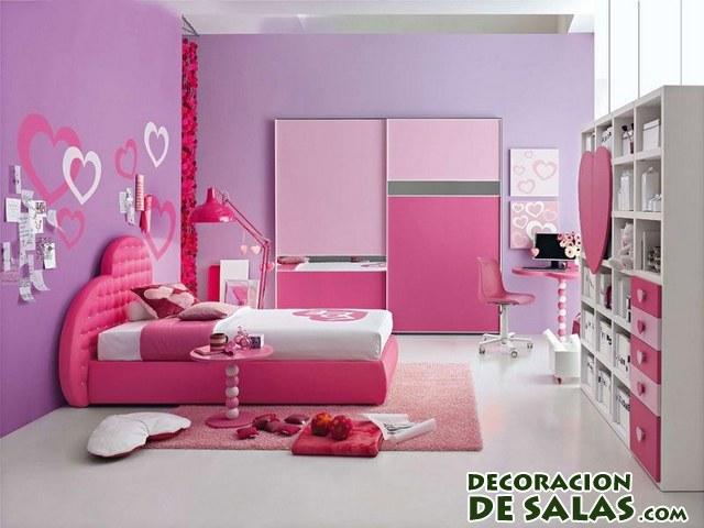 decoración con corazones en rosa