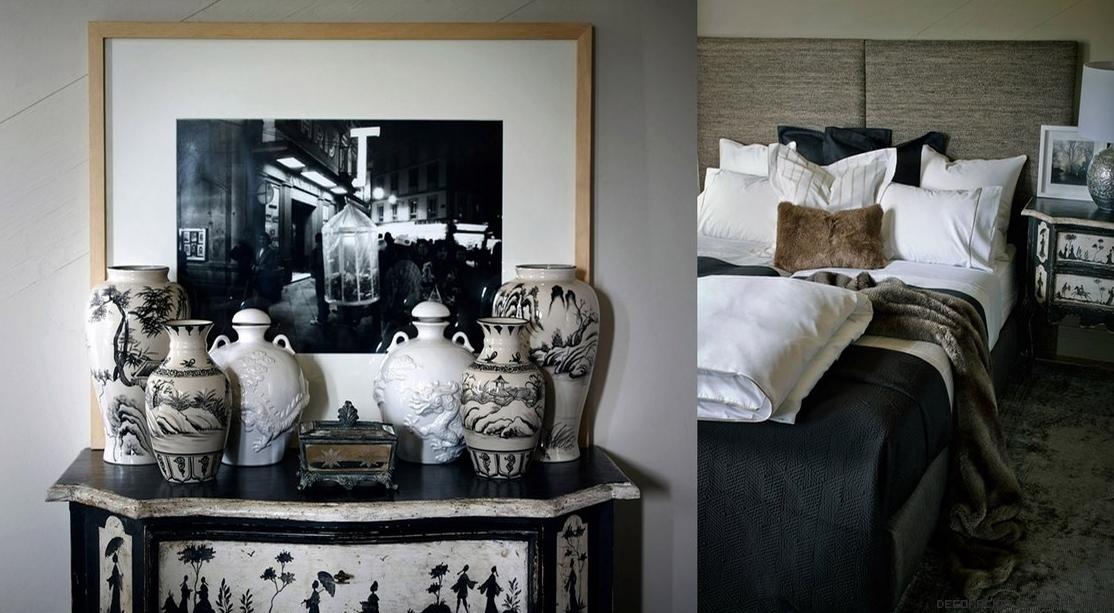 jarrones decorativos en blanco y negro