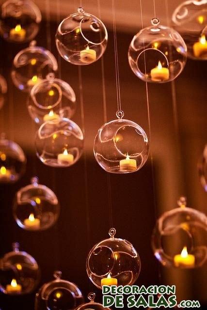 decoración con velas en cristal