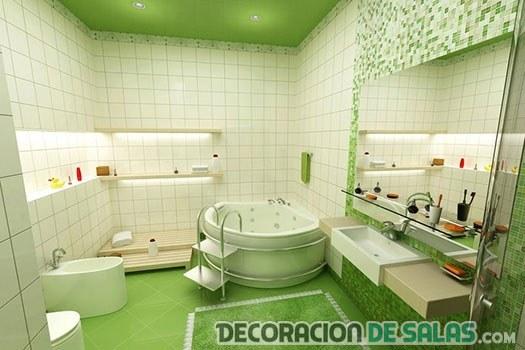 decoracion cuarto baño verde