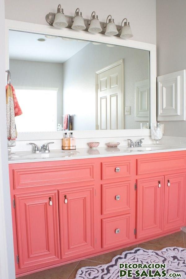 decoración de baños en color coral